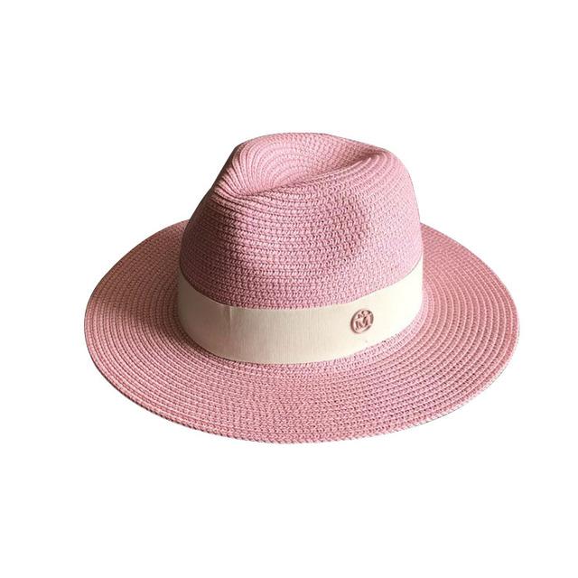 La nueva primavera y el verano de color rosa doble polvo M estándares Sir sombrero de Paja sombrero de paja sombrero sombrero de playa sombreado mar femenino