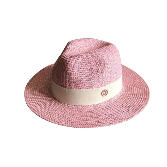 The new spring and summer pink double powder M standards Sir Straw hat straw hat hat beach hat shading sea female
