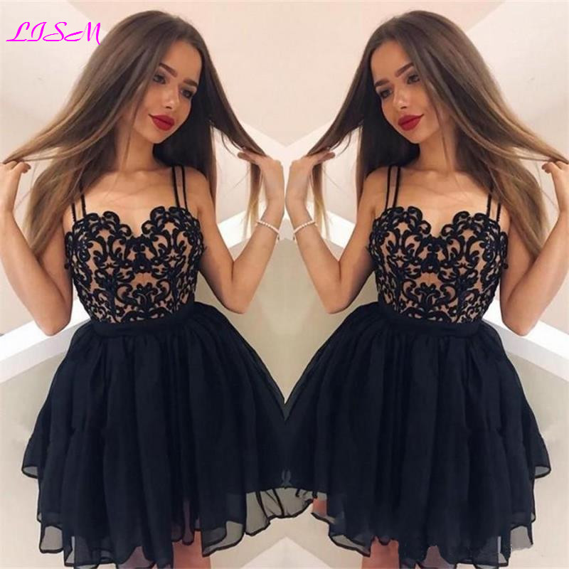 Sweetheart Straps Mini Homecoming Dresses Sexy Empire Tulle Formal Party Gowns Short Prom Dress Vestidos De Formatura(China)