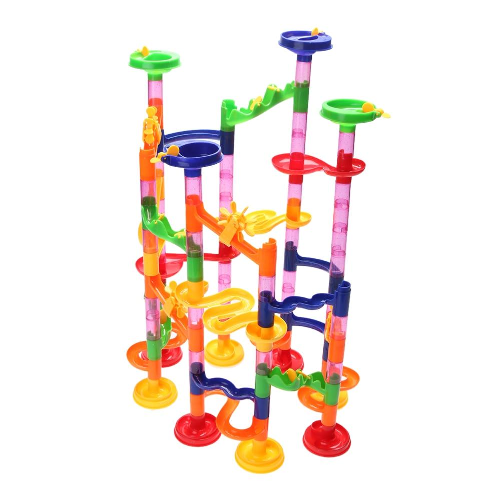 105ks Maze Puzzle Hračka Vodní potrubí Budova Kids DIY Konstrukce Mramor Race Běh Maze Ball Track ABS Plastové Puzzle Toy
