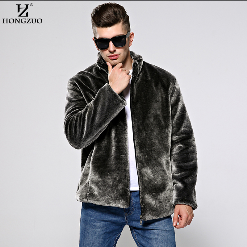 HONGZUO new 2017 Winter Men's Fur Coat Fashion Slim Thick Warm Faux Fur Coat Jacket Mandarin Collar Coffee Black Parka PC136