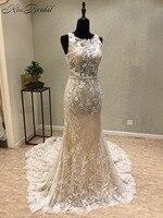 Sexy nueva sirena Vestidos de novia o-cuello sin mangas del tren Encaje China vestidos de novia vestido de Noiva sereia brautkleid