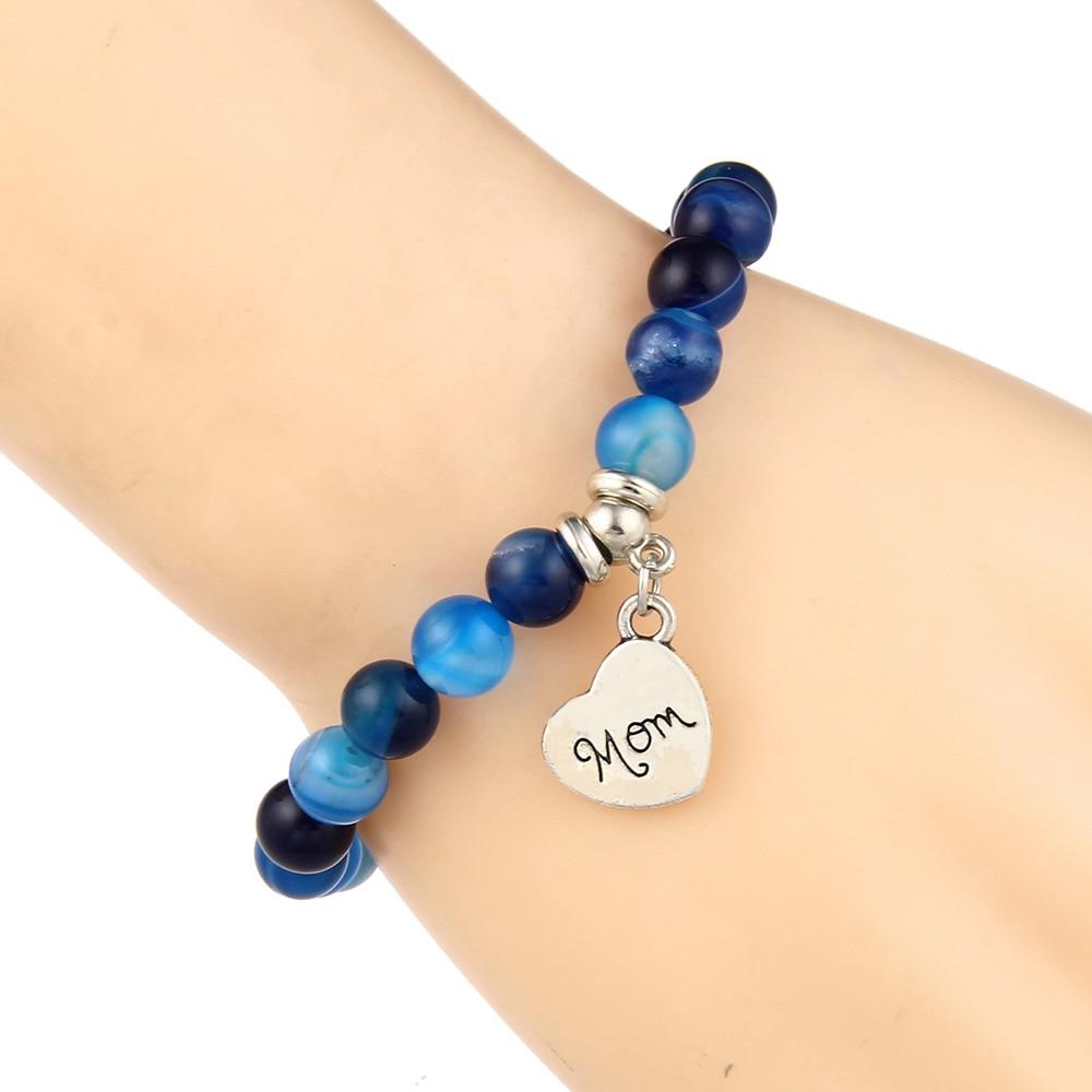 I Love You Mom Bead Bracelet Women 2019 New Jewelry for Mum Natural Stone Charm Bracelet Mother's Day Gift Family Bless Bracelet 22
