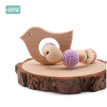 MamimamiHome Baby Wooden Toys Fox Hedgehog Elephant Bird Crochet Beads Toys For Children Teething Bracelet Baby Bracelet Rattle(China)