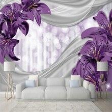 Custom wallpaper mural lily flower silk pastoral modern living room TV background wall family art high-grade waterproof material