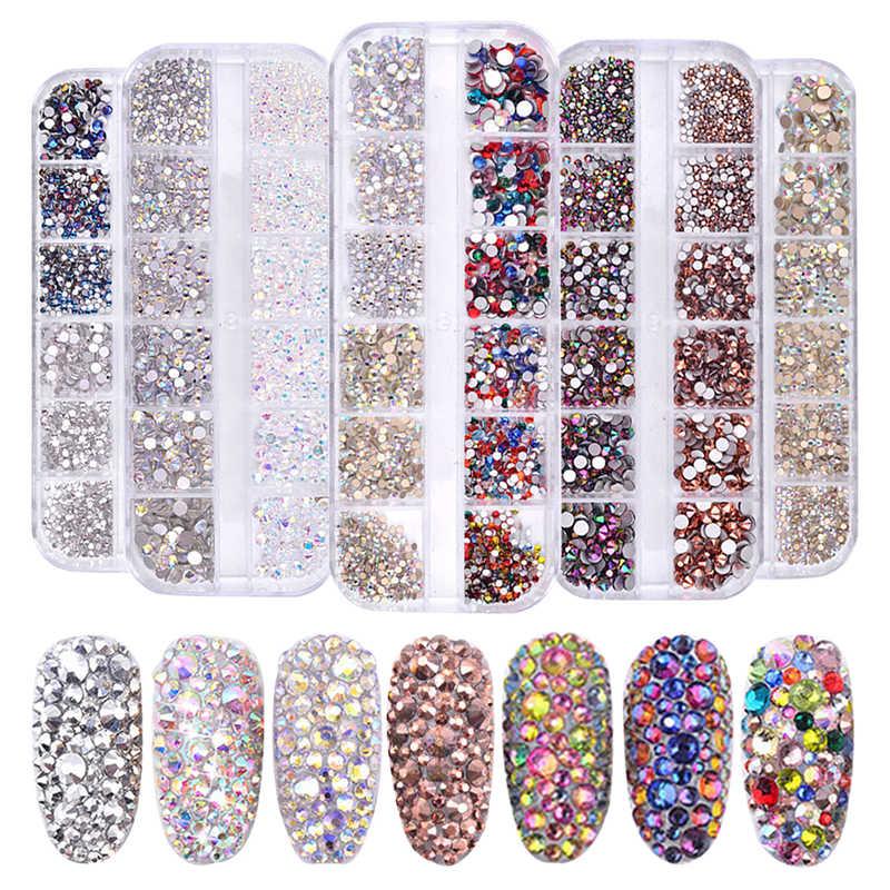 1 Box Multi Size Glass Rhinestones Mixed Colors Flat-back AB Crystal Strass 3D Charm Gems DIY Manicure Nail Art Decorations