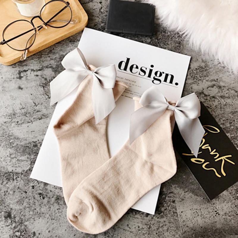 HTB1t.Tpc6rguuRjy0Fexh4cbFXaU - Summer Funny Gold Silver Wire After The Heel Ribbon Big Bow Short Socks