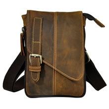 Ретро Crazy Horse из натуральной кожи Повседневное мульти-funciton сумка Для мужчин мини сумка Сумка пояс слинг пакет