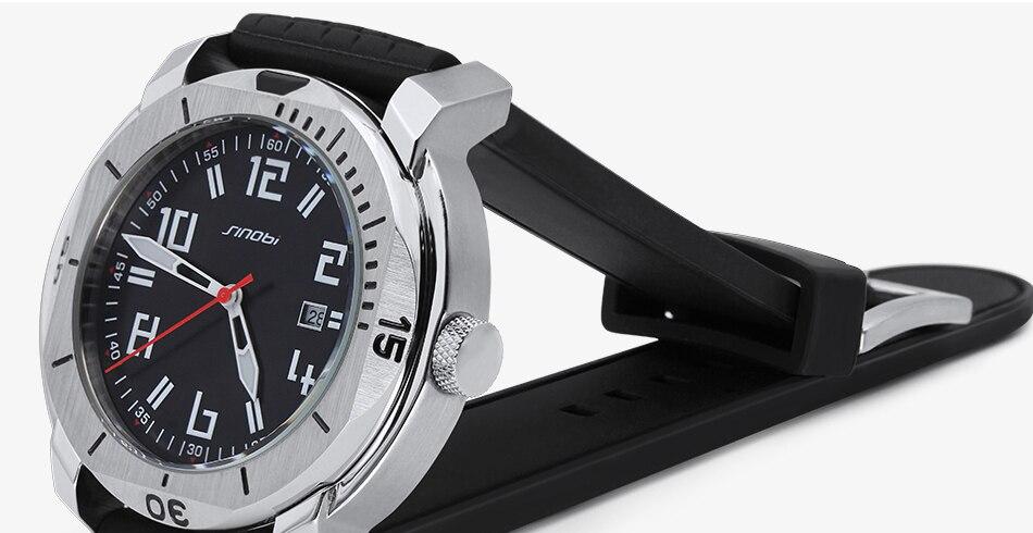 SINOBI Surfing Clock 3Bar Waterproof Watch Mens Sports Wristwatch Designer Branded Chronograph Male Spy Geneva Quartz-watch 007 26