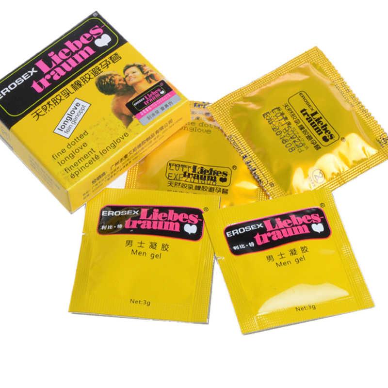 2 יחידות מתעכב גברים ג 'ל + 2 יחידות קונדומים 4 יחידות באחד עיכוב גדול שמן סקס מנוקד קונדומים אינטימי צעצוע ארוטי גברים אמצעי מניעה