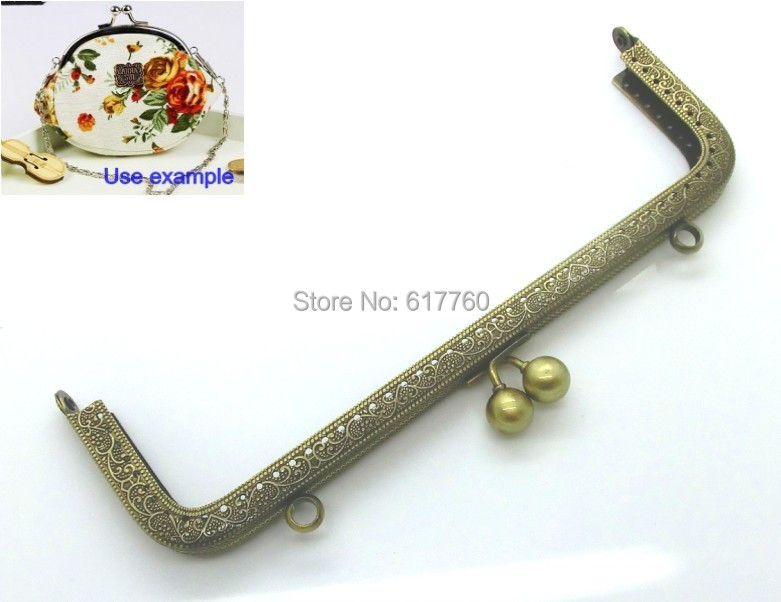 Free Shipping 10PC Antique Bronze Metal Frame Kiss Clasp For Purse Bag 20cm x 8cm 7