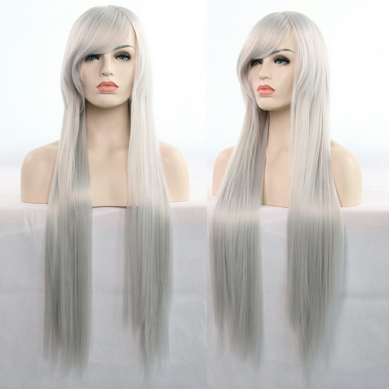 11 Colors 80cm Synthetic Long Straight Hair Wig Black Grey Green Blue Purple Pink Hairpiece Cosplay Wigs For Women