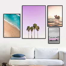 Nordic Poster Beach Sea Surf Coconut Tree Bus Prints Pink Landscape Wall Art Canvas Painting Pictures For Living Room Decor