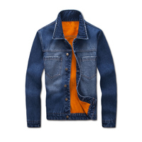 Thicken Winter Mens Denim Jacket With Fur Lined Western Cowboy Warm Coat Men Outwear Size M