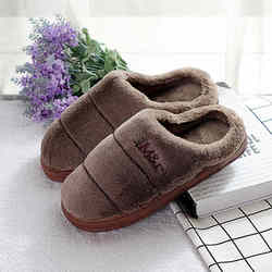 House indoor slippers men non-slip warm Home Slippers thick-soled zapatillas chaussons Warm fur Furry Slippers winter Plush