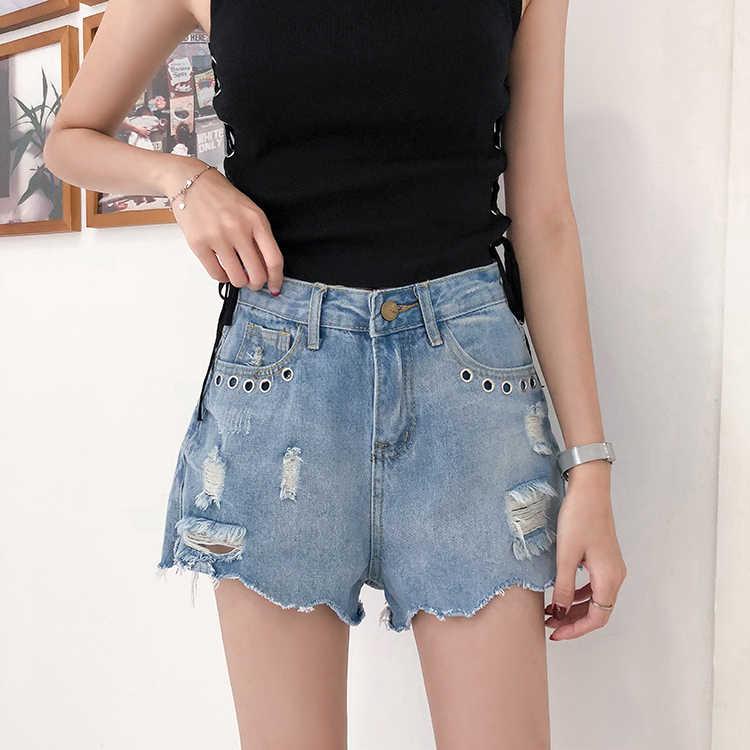 Pengpious Лето хорошее качество горячие джинсы для женщин Высокая талия Нерегулярные заусенцы Свободный Подол отверстия на карманах джинсовые брюки