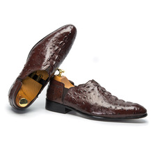 QYFCIOUFU Crocodile Pattern Genuine Leather Formal Shoes Men Pointed Toe Slip-on Dress Shoes Luxury Brand Oxford Shoes For Men