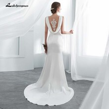 Ivory Elegant Stain Mermaid Wedding Dresses Vestido De Noiva with shawel Sweep/ Brush Train Wedding Gown