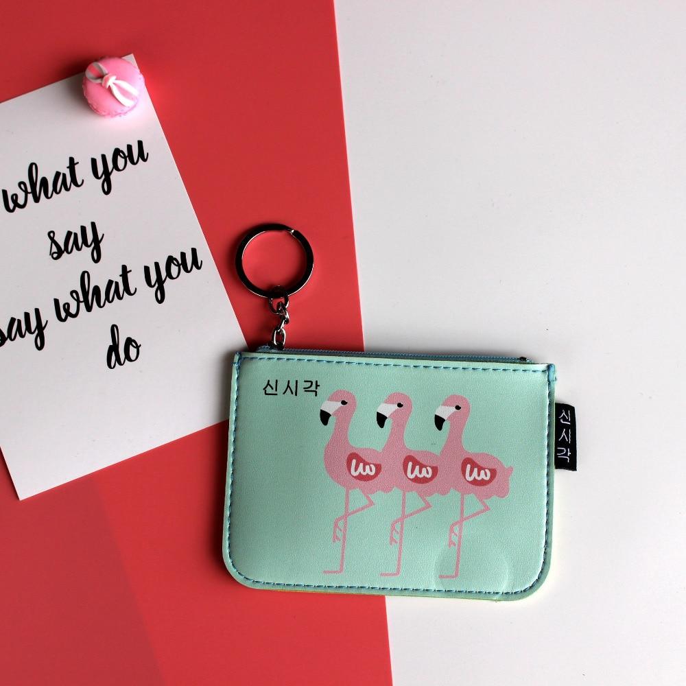PACGOTH 2017 New mini Cute Carton Pink Flamingo Bird Pattern zipper key ring Coin Purse Money Card Holder for Girl 12 x 9cm, 1PC cute branch bird pattern removeable toilet wall sticker