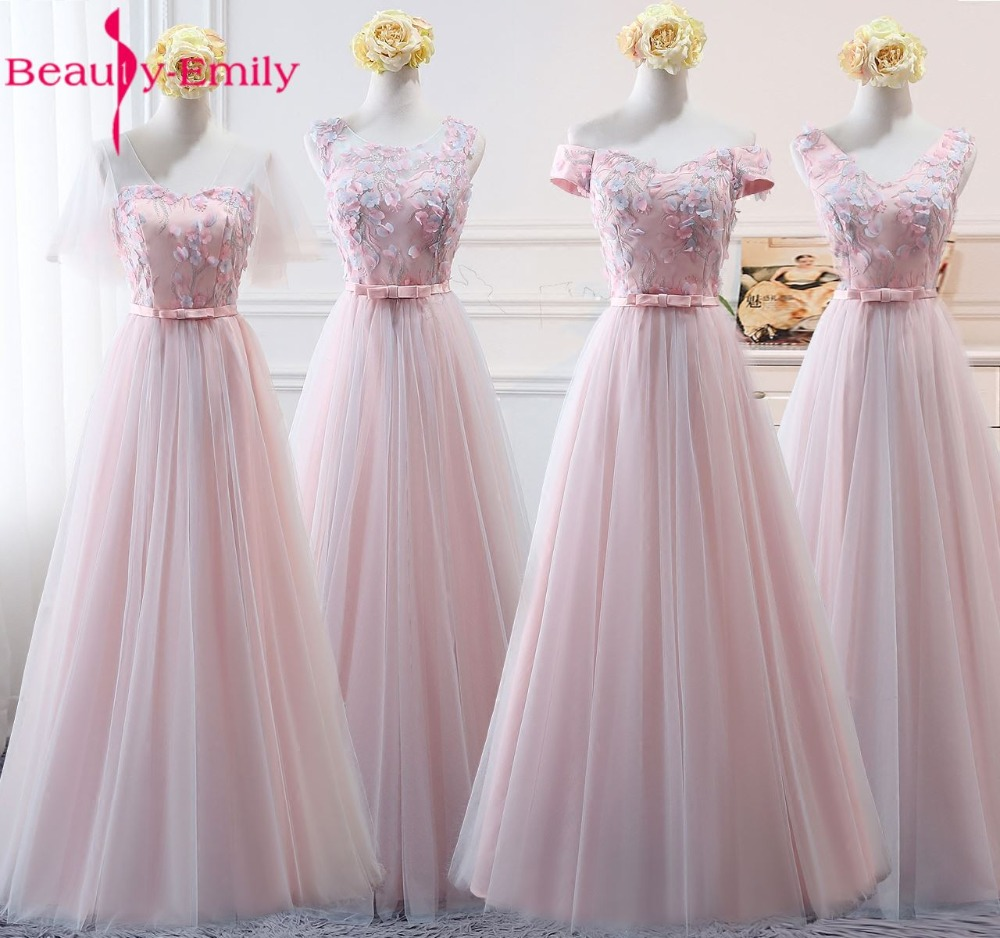 Beauty-Emily Pink Organza Bridesmaid Dresses 2017Appliqeus A-Line Short Sleeve Formal Wedding Occasion Party Prom Dresses