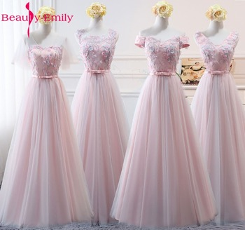 Beauty-Emily Pink Organza Bridesmaid Dresses 2020 Appliqeus A-Line Short Sleeve Formal Wedding Occasion Party Prom Dresses