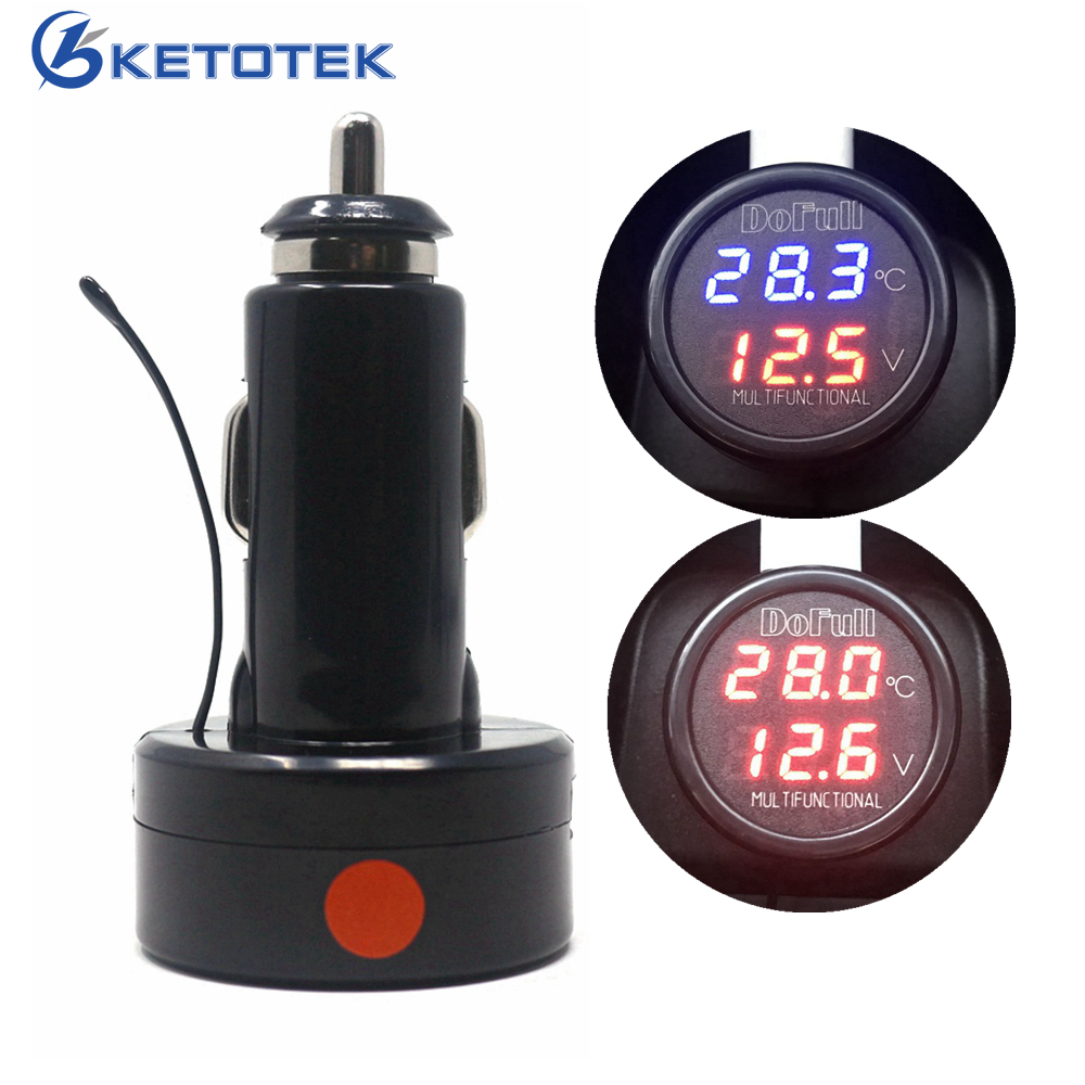 3 in 1 LED Car Digital Battery Volt Meter Thermometer USB Charging Suitable for 12V and 24V Battery 3 in 1 multifunctional car digital voltmeter usb car charger led battery dc voltmeter thermometer temperature meter sensor