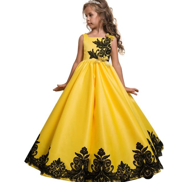 2019 г., летнее торжественное Пышное Платье для принцессы с вышивкой Детские платья для девочек детское праздничное платье на свадьбу 6, 14, 10, 12 лет
