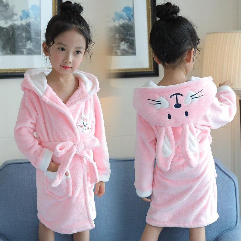 Осень Новый 2017 ночная рубашка принцессы для маленьких девочек зимний халат детские длинные пижамы Для ванной Халат детей Для ванной Халат Д...
