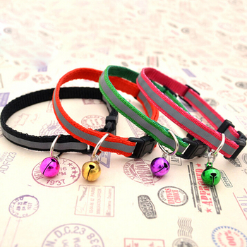 New 1 Pc Pet Dog Collar Nylon Reflective Necklace With Bell For Dog Puppy Supplies Small Dogs Cat Collar Size S M 6 Colors image