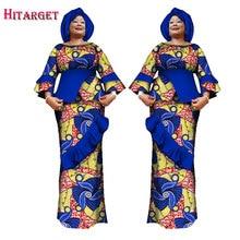 2017 African Kanga Clothing Two Piece Set Women Long Sleeve Crop Tops & Skirt Sets Mermaid Maxi 6XL WY1633