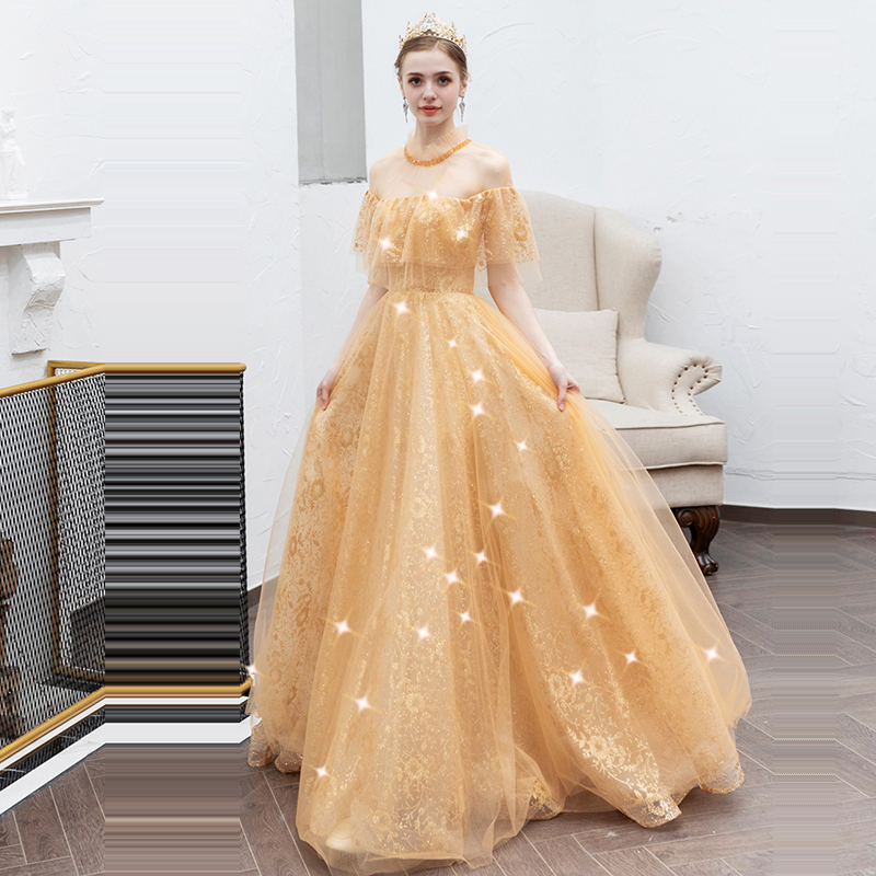 Evening Dress High Collar Backless Women Party Dresses Short Sleeve Robe De Soiree 2019 Long Plus Size Sequin Evening Gowns E612 in Evening Dresses from Weddings Events