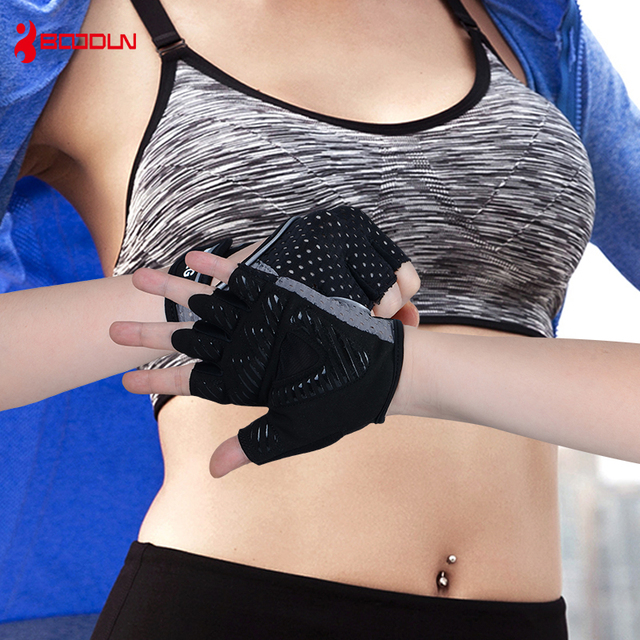 Boodun Weight Lifting Dumbbells Breathable Black Gloves Fitness Sport Gym Training Gloves Men Gloves Anti-slip  Body Building