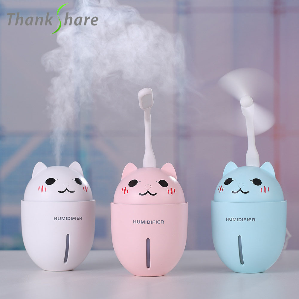 USB Air Humidifier Ultrasonic Aroma Diffuser With USB Fan Essential Oil Diffuser Mist Maker Electric  With Aroma Lamp LED Light