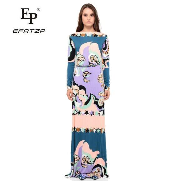 Nuevo Fahion 2018 diseñador de lujo Maxi vestido de mujer de manga larga Colorfu geometría impresión XXL estiramiento Jersey de seda Spandex largo vestido-in Vestidos from Ropa de mujer    1