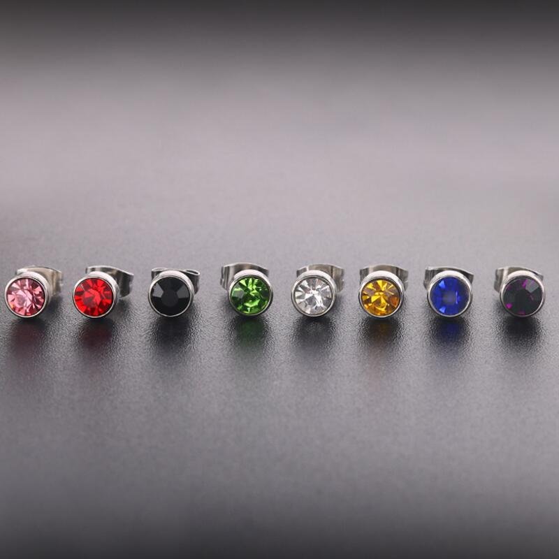 High quality 1 Pair Stainless Steel Zircon Stud Earrings Piercing Stud Earrings for women Elegant Jewelry Fashion Gift