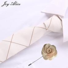 joy alice 6cm Skinny Ties&pin for Men Women Fashion Casual Floral Tie Blue Neckties Wedding Bow Slim Gravatas Accessories
