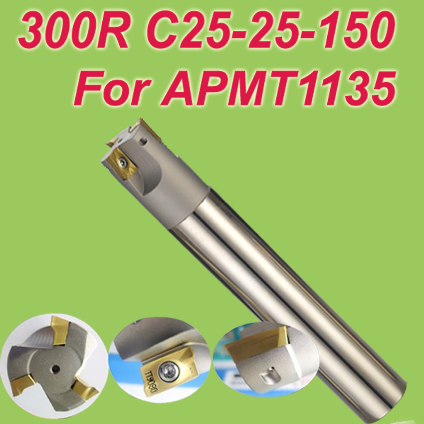 Free Shiping  300R SHK 25MM,Cutting Dia:25mm L:150mm Inserted End Mill Bar Cutting Tools for APMT1135 free shiping1pcs aju c10 10 100 10pcs ccmt060204 dia 10mm insertable bore drilling end mill cutting tools arbor for ccmt060204