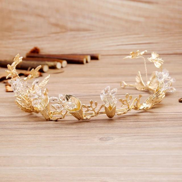 high fashion Korean gold metal Tiara with crystal beads decorated bridal hair ornament bride wedding hair accessories