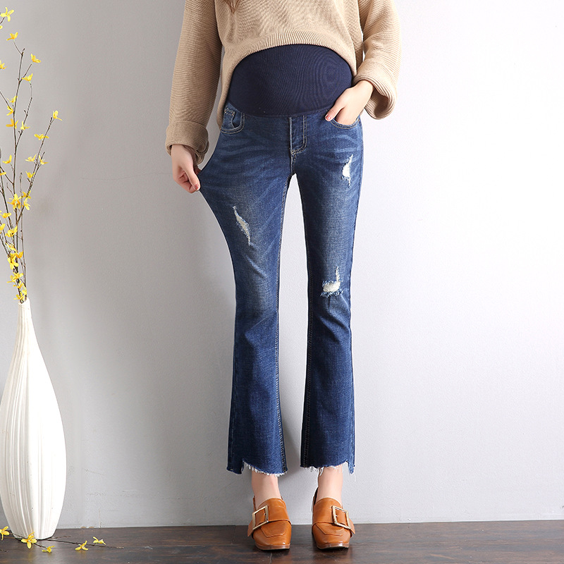 Elastic Waist Hole Stretch Jeans For Pregnant Women Clothes Nursing Trousers Pregnancy Overalls Denim Bell Bottom Pants H139 liva girl spring women low waist sexy knee hole skinny jeans brand fashion pencil pants denim trousers plus size ripped jeans