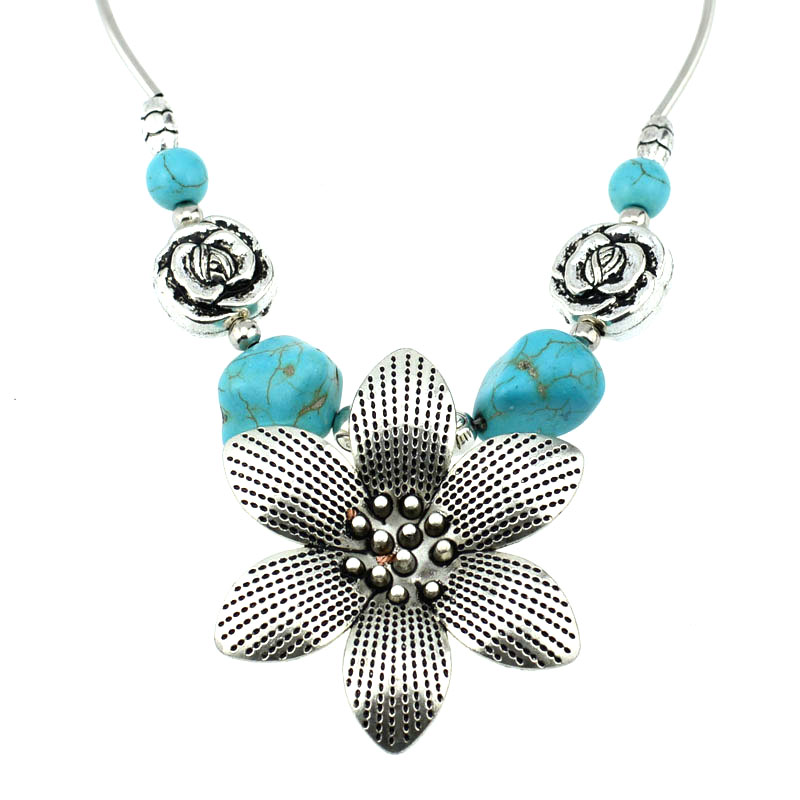 Latest Design Handmade Jewelry Blue Tibetian Turquoise Sterling Silver Overlay Necklace 17-18
