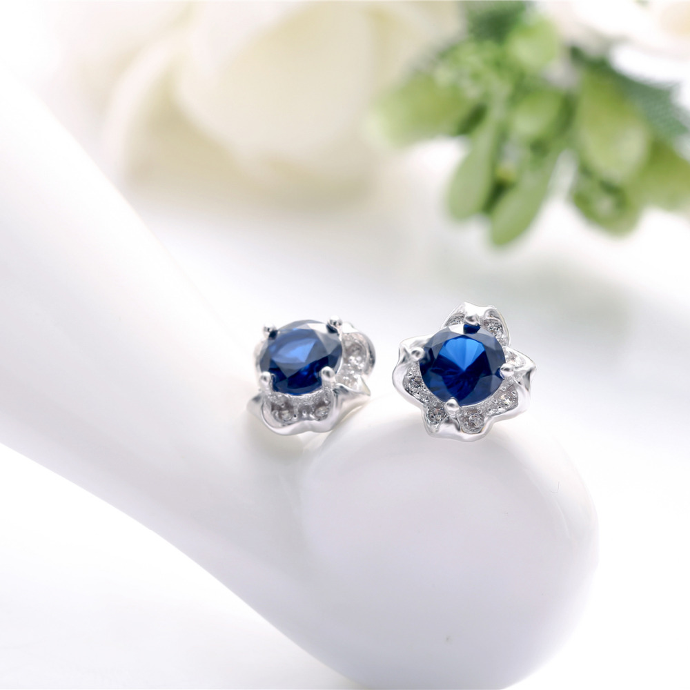 Pure 925 Silver Jewelery Flower Earrings For Woman Lady Diamante White Gold Plated Blue Stones Girls Gifts Fashion 8*8mm 1 Pair