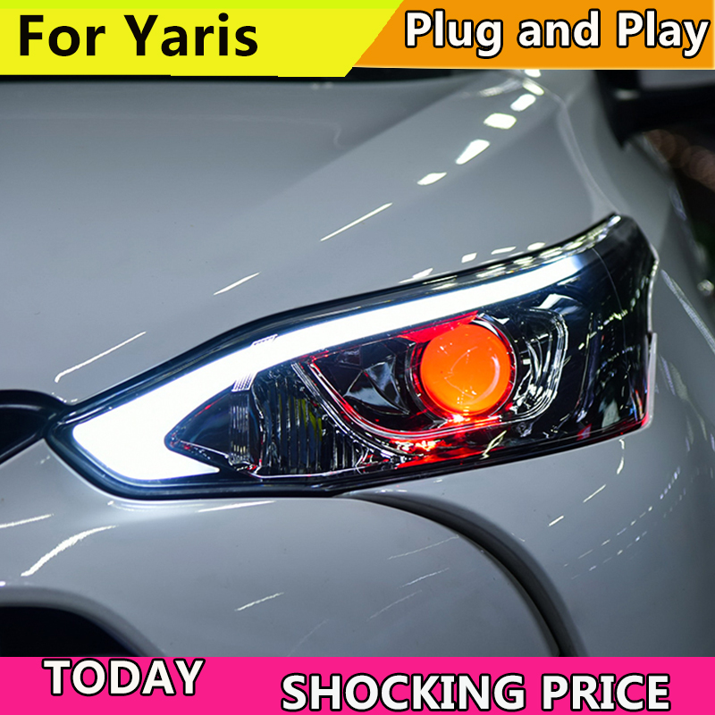 Car Styling cars Headlight For Toyota Yaris L 2016-2018 Headlights LED DRL Running lights Bi-Xenon Beam Fog lights angel eyes car led lights 9005 spot car lights source 30w headlights 6000k comet series for drl fog light high beam low beam upgrade