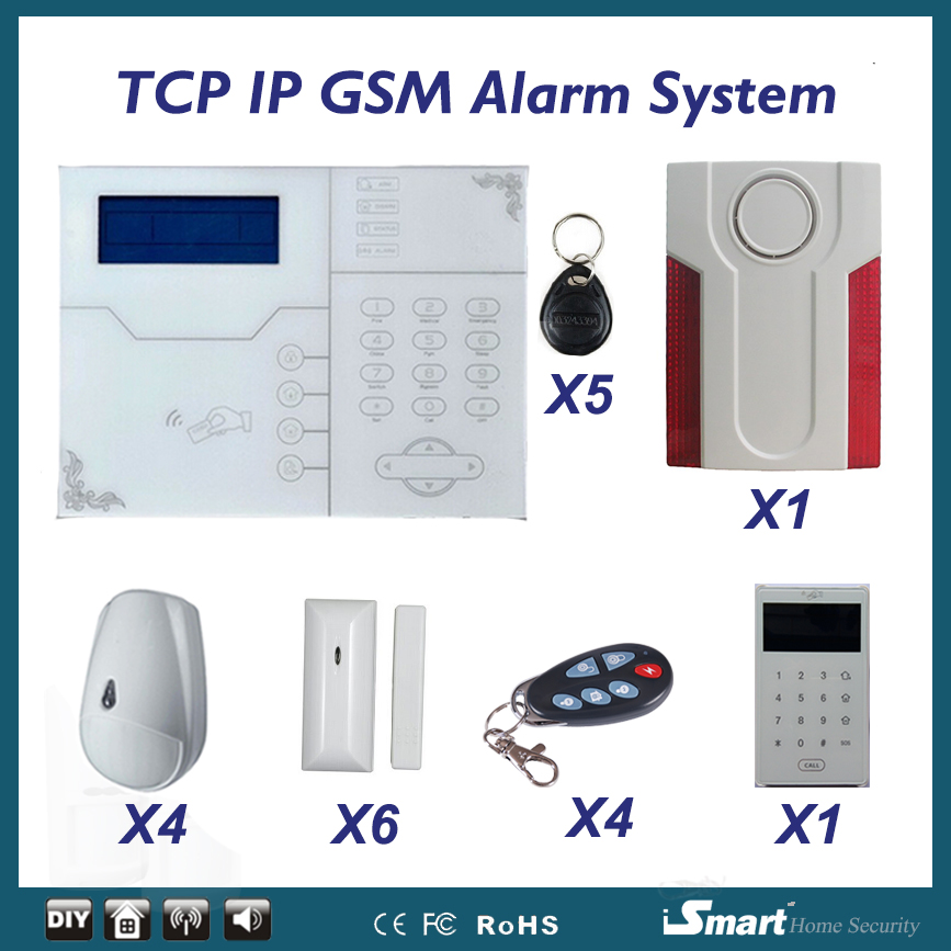 Web IE Control Wireless Home Smart Alarm TCP/IP Burglar GSM Alarm System Security Home Alarm System with Pet Immune PIR Sensor цена