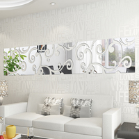 3D Diy Mirror Wall Sticker Mirror Decorative Shiny Acrylic Sticker Home Decor Living Room Decoration DIY Modern Abstract Art