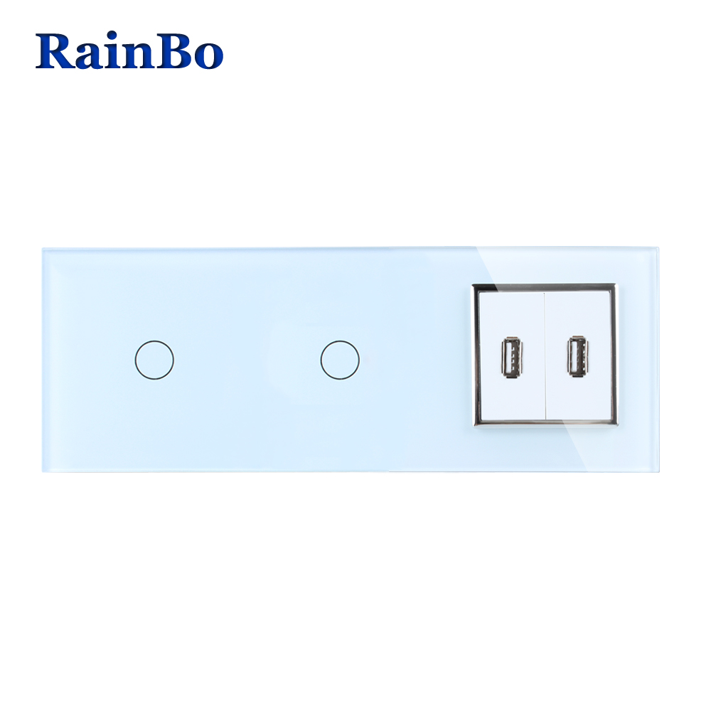 RainBo Brand Crystal Glass Panel USB Socket EU Touch  Socket Control Screen Wall Light Switch 1gang1way  A39111182USCW/B 2017 smart home crystal glass panel wall switch wireless remote light switch us 1 gang wall light touch switch with controller
