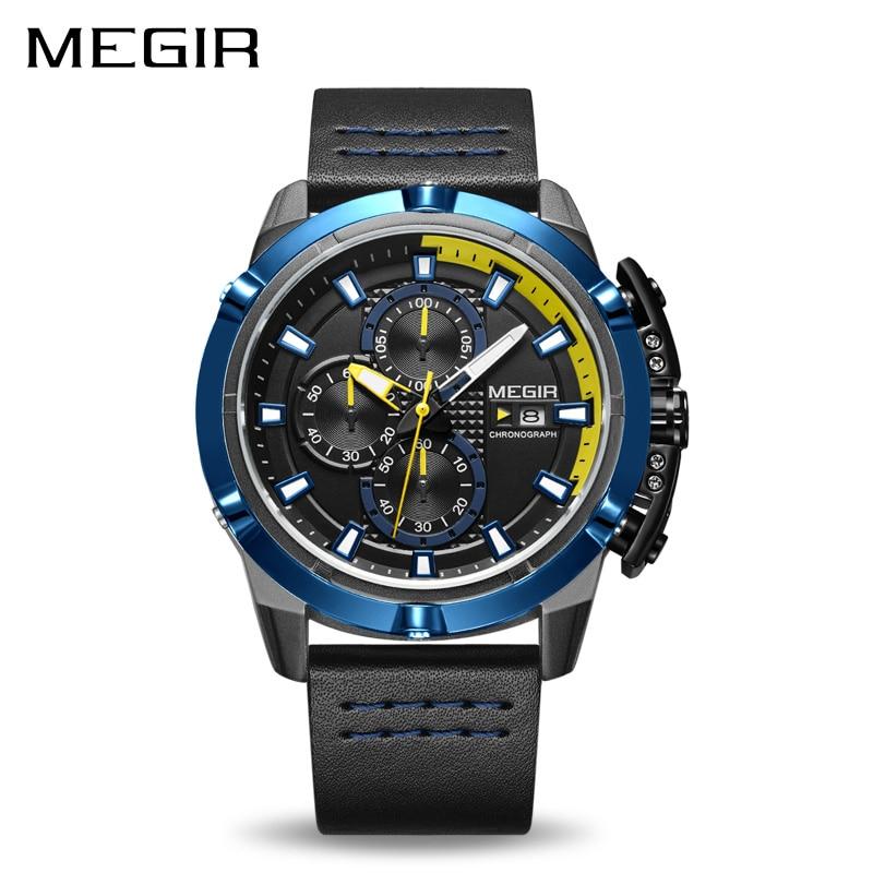 Top Marque De Luxe MEGIR Hommes Sport Montres Chronographe Bracelet En Cuir Quartz Militaire de L'armée Montre Horloge Mâle Relogio Masculino