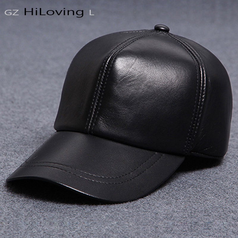 casual genuine winter leather cap for man adjustable baseball caps brand outdoor ski black sports hats