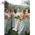 2016 Sage Green Шифон Длинные Платья Невесты Смешанный Стиль Сшитое Maid of Honor Платья Пляж Открытый Свадебные Платья
