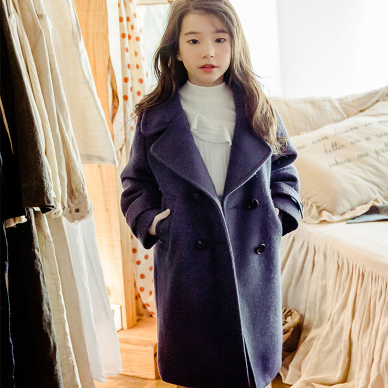 купить teenage baby girls trench coat kids fashion windbreaker double breasted jackets for girls winter coat autumn winter outerwear по цене 2716.5 рублей