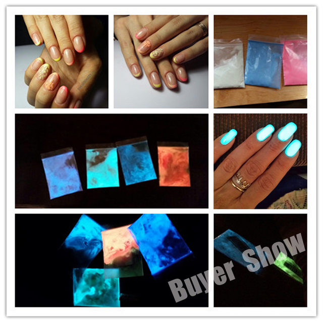 12 Color Makeup Glow Powder Super Bright Glow in the Dark 1pcs Power Nail Polish Glow Luminous Pigment Fluorescent Powder #78752